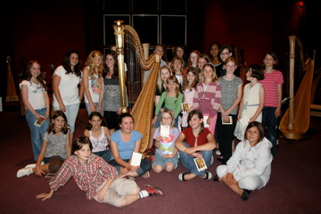 Junior Harp Course Students with Claire Jones